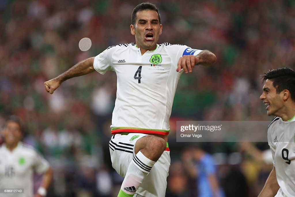 Rafael Marquez of Mexico celebrates after scoring the second goal of his team during a group C match between Mexico and Uruguay at University of...