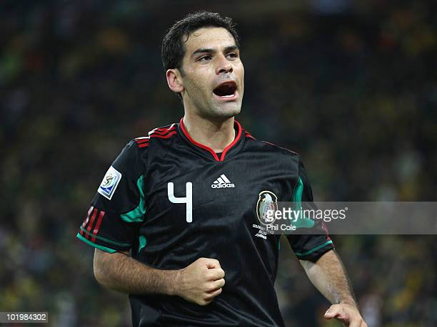 Rafael Marquez of Mexico celebrates after scoring the second goal to equalise during the 2010 FIFA World Cup South Africa Group A match between South...