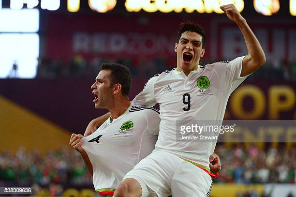 Rafael Marquez of Mexico celebrates with teammate Raul Jimenez after scoring a goal in the second half during the 2016 Copa America Centenario Group...
