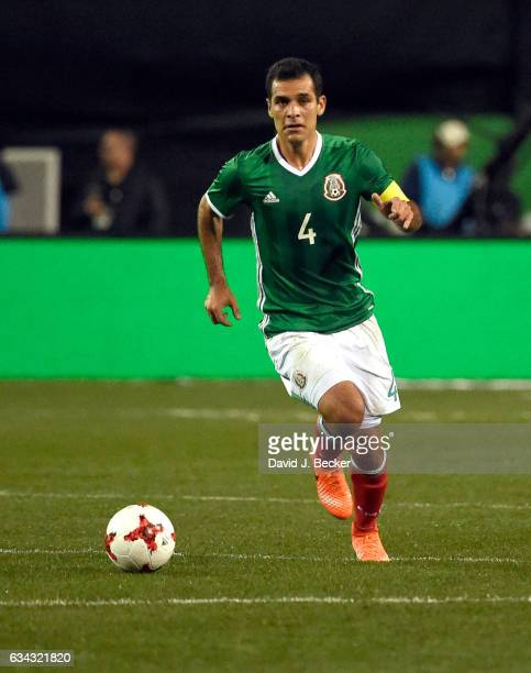 Rafael Marquez of Mexico drives the ball against Iceland during the first half of their exhibition match at Sam Boyd Stadium on February 8 2017 in...