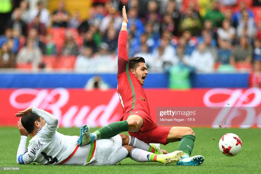 Rafael Marquez of Mexico fouls Andre Silva of Portugal and a penalty is awrded during the FIFA Confederations Cup Russia 2017 Play-Off for Third Place between Portugal and Mexico at Spartak Stadium on July 2, 2017 in Moscow, Russia.