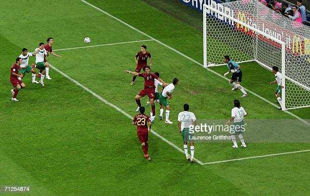 Rafael Marquez of Mexico gives away a handball in the penalty box which the referee spotted during the FIFA World Cup Germany 2006 Group D match...