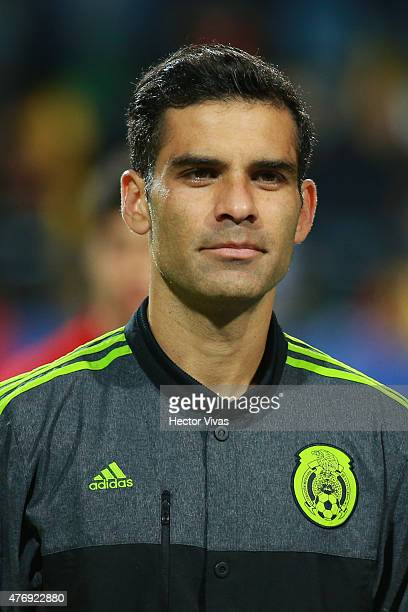 Rafael Marquez of Mexico looks on during the national anthem ceremony prior the 2015 Copa America Chile Group A match between Mexico and Bolivia at...