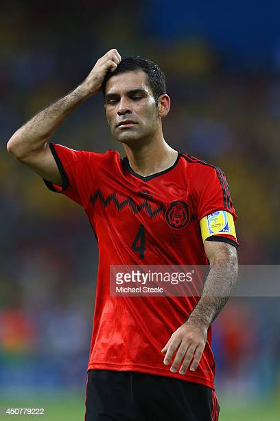 Rafael Marquez of Mexico reacts during the 2014 FIFA World Cup Brazil Group A match between Brazil and Mexico at Castelao on June 17 2014 in...