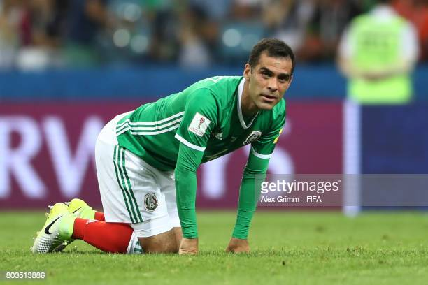 Rafael Marquez of Mexico reacts during the FIFA Confederations Cup Russia 2017 SemiFinal between Germany and Mexico at Fisht Olympic Stadium on June...