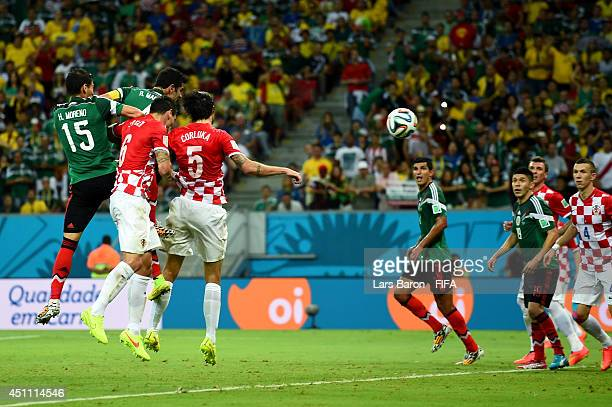 Rafael Marquez of Mexico scores his team's first goal during the 2014 FIFA World Cup Brazil Group A match between Croatia and Mexico at Arena...