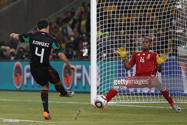 Rafael Marquez of Mexico scores the second goal past Itumeleng Khune of South Africa to equalise during the 2010 FIFA World Cup South Africa Group A...