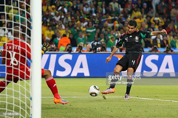 Rafael Marquez of Mexico scores the second goal to equalise during the 2010 FIFA World Cup South Africa Group A match between South Africa and Mexico...