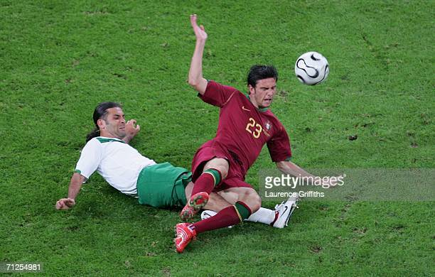 Rafael Marquez of Mexico tackles Helder Postiga of Portugal during the FIFA World Cup Germany 2006 Group D match between Portugal and Mexico at the...