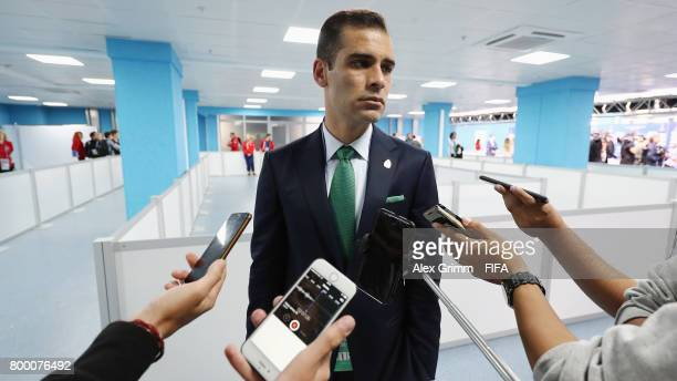 Rafael Marquez of Mexico talks to journalists after the FIFA Confederations Cup Russia 2017 Group A match between Mexico and New Zealand at Fisht...