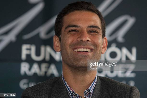 Rafael Marquez talks to the press during the conference about the second gala of Rafael Marquez Foundation Soccer and Heart on 11 October 2012 in...