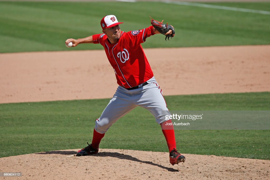 Rafael Martin #53 of the Washington Nationals throws the ball against the Boston Red Sox in the seventh inning during a spring training game at JetBlue Park on March 30, 2017 in Fort Myers, Florida. The Red Sox defeated the Nationals 8-1.