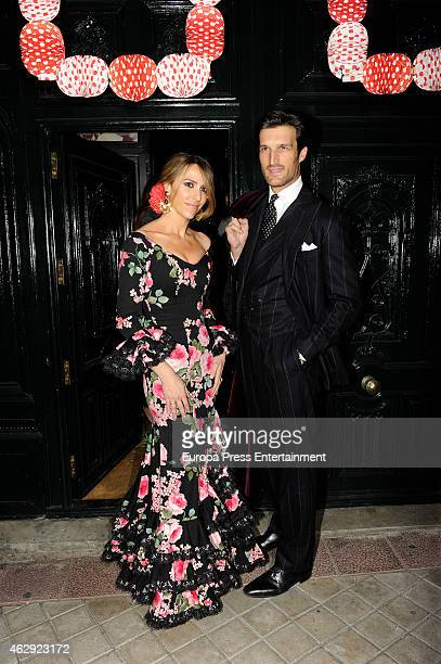 Rafael Medina and Laura Vecino attend Giancarlo Giammetti birthday party on February 6 2015 in Madrid Spain