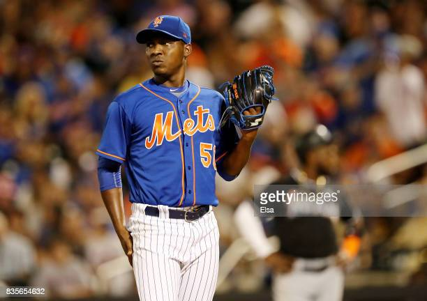 Rafael Montero of the New York Mets reacts after giving up an RBI single to Marcell Ozuna of the Miami Marlins in the sixth inning on August 19 2017...