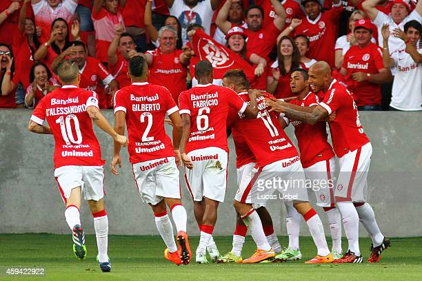 Rafael Moura of Internacional celebrates their first goal during the match between Internacional and AtleticoMG as part of Brasileirao Series A 2014...