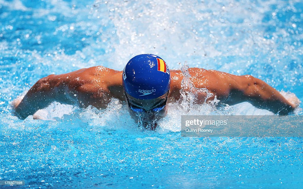 <a gi-track='captionPersonalityLinkClicked' href=/galleries/search?phrase=Rafael+Munoz&family=editorial&specificpeople=6000454 ng-click='$event.stopPropagation()'>Rafael Munoz</a> Perez of Spain competes during the Swimming Men's 100m Butterfly preliminaries heat four on day fourteen of the 15th FINA World Championships at Palau Sant Jordi on August 2, 2013 in Barcelona, Spain.