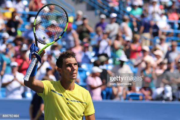 Rafael Nadal acknowledges the fans after a match during the Western Southern Open at the Lindner Family Tennis Center in Mason Ohio on August 18th...