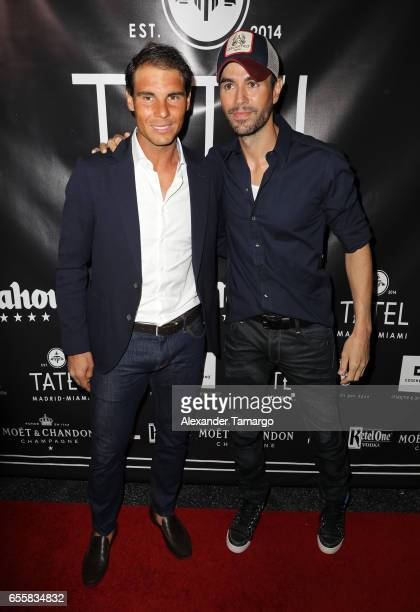 Rafael Nadal and Enrique Iglesias are seen arriving at the grand opening celebration of TATEL Miami on March 20 2017 in Miami Beach Florida
