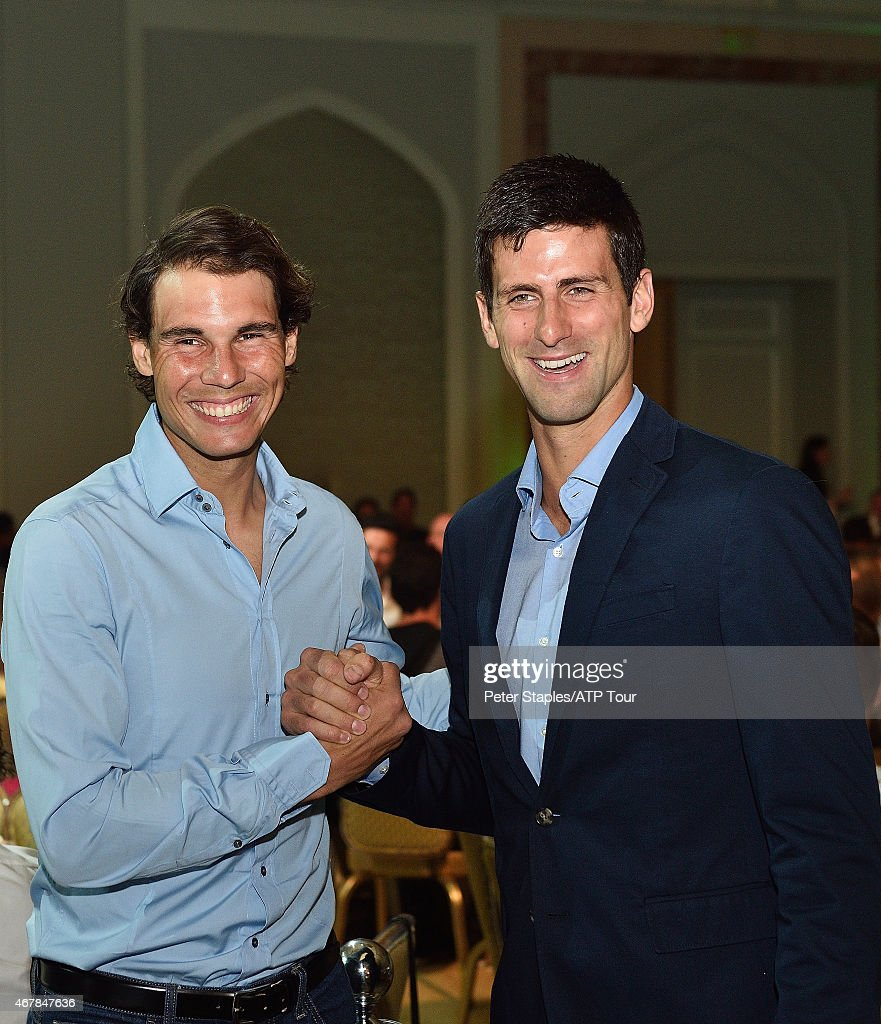 Rafael Nadal and Novak Djokovic attend the Qatar ExxonMobil Open Players' Dinner Party at the Four Seasons Hotel on January 4, 2015 in Doha, Qatar.