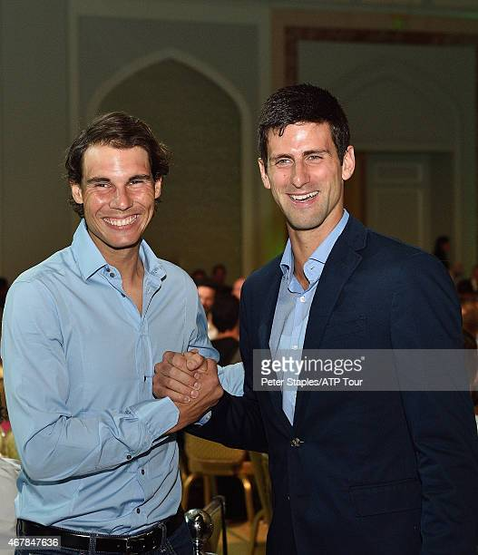 Rafael Nadal and Novak Djokovic attend the Qatar ExxonMobil Open Players' Dinner Party at the Four Seasons Hotel on January 4 2015 in Doha Qatar