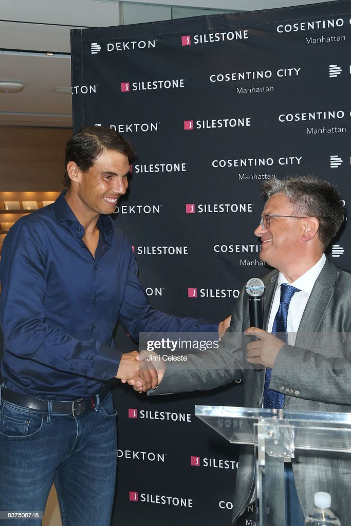 Rafael Nadal and Santiago Alfonso attend an exclusive cocktail event with Cosentino at Cosentino City Manhattan on August 22, 2017 in New York City.