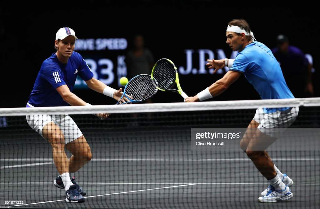Rafael Nadal and Tomas Berdych of Team Europe in action during there doubles match against Nick Kyrgios ans Jack Sock of Team World on the first day of the Laver Cup on September 22, 2017 in Prague, Czech Republic. The Laver Cup consists of six European players competing against their counterparts from the rest of the World. Europe will be captained by Bjorn Borg and John McEnroe will captain the Rest of the World team. The event runs from 22-24 September.