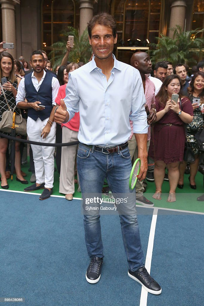 Rafael Nadal attends Rafael Nadal Serena Williams and Venus Williams Hold A Virtual Tennis Tournament at Lotte New York Palace on August 25 2016 in...