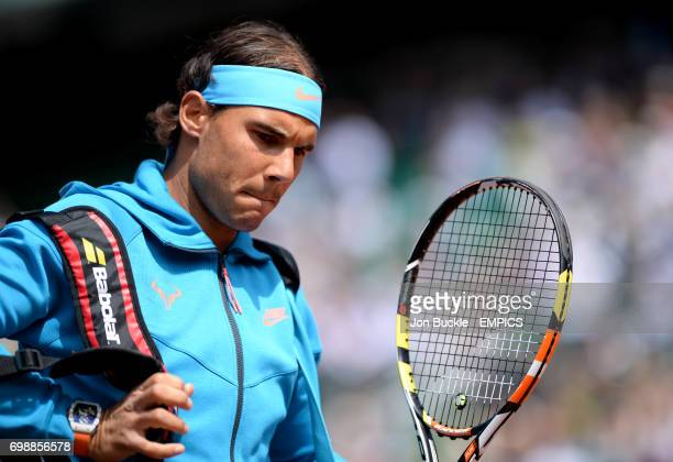 Rafael Nadal before his Men's Singles Quarterfinal match against Novak Djokovic on day eleven of the French Open at Roland Garros on June 3 2015 in...