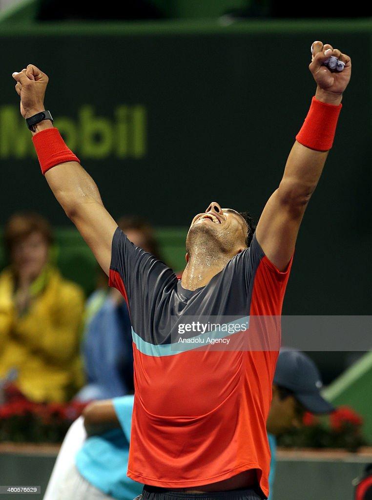 Rafael Nadal celebrates the result as he beats Gael Monfils 21 under Qatar ExxonMobil Open 2014 January 4 Doha Qatar