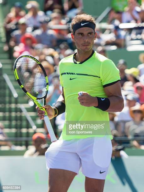 Rafael Nadal celebrating in action during his Round of 16 match in the 2017 Miami Open on March 28 at the Tennis Center at Crandon Park in Key...