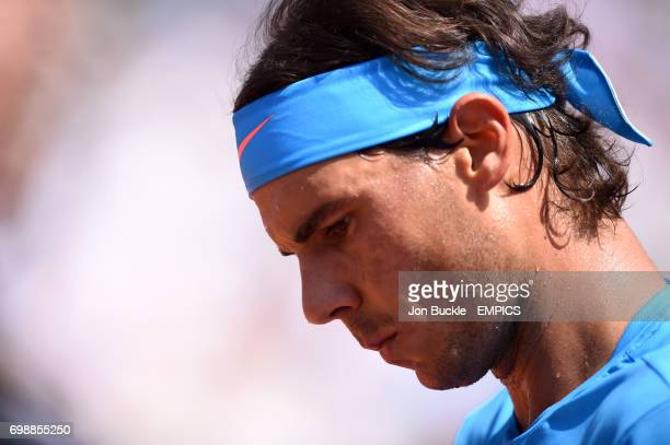 Rafael Nadal during his match against Novak Djokovic in the Men's Singles Quarterfinal on day eleven of the French Open at Roland Garros on June 3...