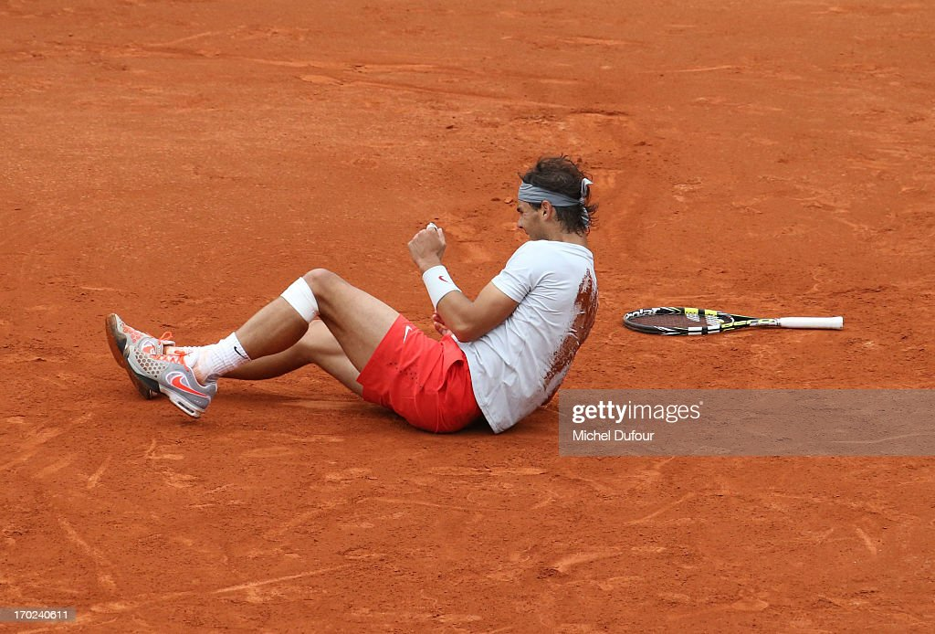 Rafael Nadal during match point At French Open 2013 - Day 15 at Roland Garros on June 9, 2013 in Paris, France.