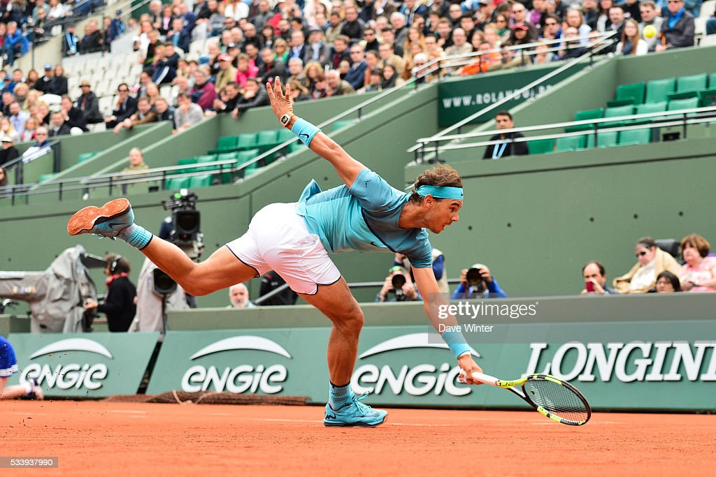 Rafael Nadal during the Men's Singles first round on day three of the French Open 2016 at Roland Garros on May 24, 2016 in Paris, France.
