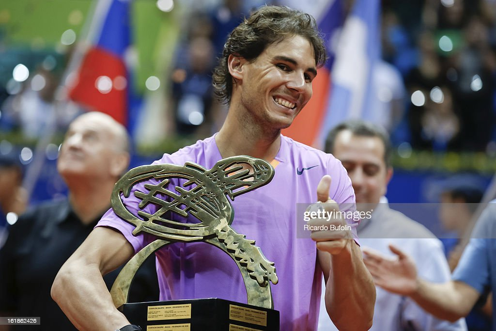Rafael Nadal from Spain, celebrates his victory over David Nalbandian from Argentina during the singles final between Nadal and Nalbandian as part of the ATP Brazil Open on February 17, 2013, at Ibirapuera Gymnasium in Sao Paulo, Brazil.