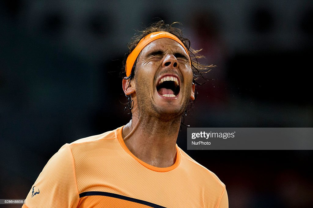 Rafael Nadal from Spain shouts after winning against Joao Sousa from Portugal, during a Madrid Open tennis tournament match in Madrid, Spain, Friday, May 6, 2016. Rafael Nadal won 6-0, 4-6 and 6-3