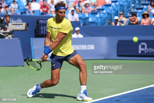 Rafael Nadal hits a backhand during the Western Southern Open at the Lindner Family Tennis Center in Mason Ohio on August 18th 2017 Nadal defeated...