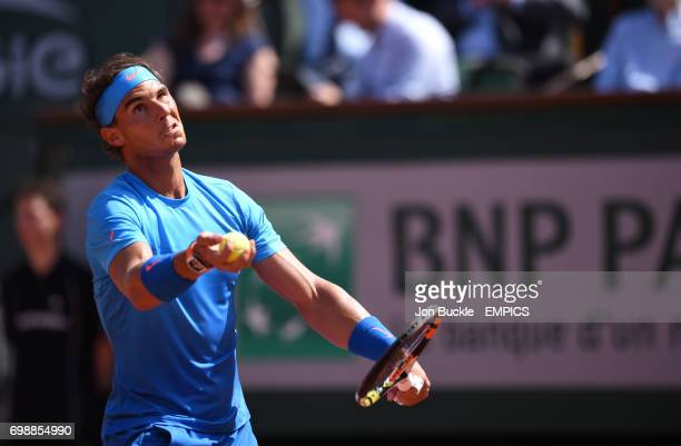 Rafael Nadal in action against Novak Djokovic in the Men's Singles Quarterfinal on day eleven of the French Open at Roland Garros on June 3 2015 in...