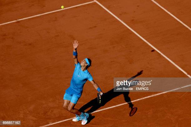 Rafael Nadal in action against Novak Djokovic in the Men's Singles Quarterfinals on day eleven of the French Open at Roland Garros on June 3 2015 in...