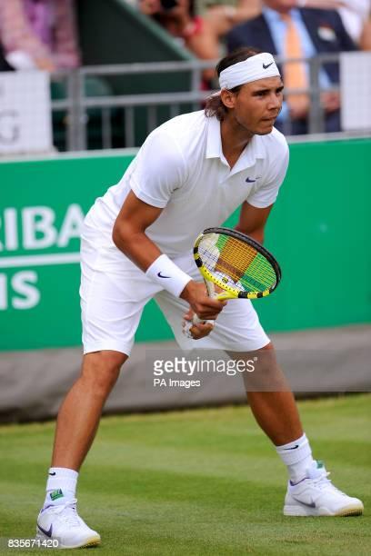 Rafael Nadal in action against Stanislas Wawrinka during the BNP Paribas Fortis Tennis Classic at the Hurlingham Club London