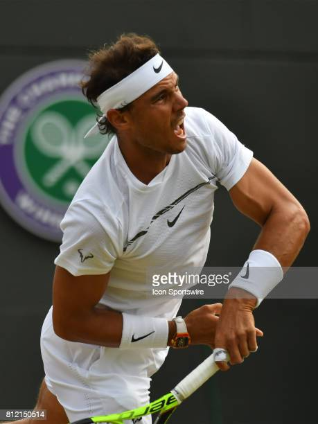 Rafael Nadal in action during his 4th round match on July 10 2017 during the Wimbledon Championships at the All England Lawn Tennis and Croquet Club...