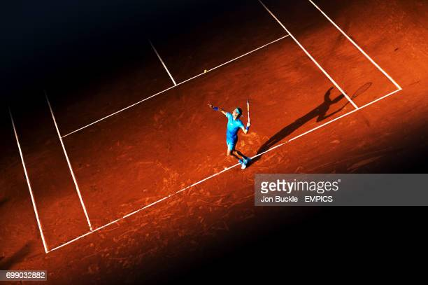 Rafael Nadal in action during his Fourth round men's singles match against Jack Sock on day nine of the French Open at Roland Garros on June 1st 2015...