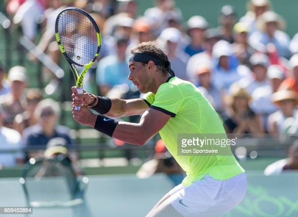 Rafael Nadal in action in action during his Round of 16 match in the 2017 Miami Open on March 28 at the Tennis Center at Crandon Park in Key Biscayne...
