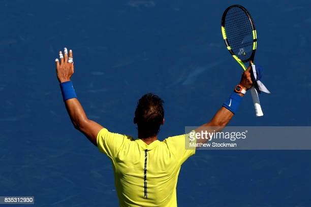 Rafael Nadal of Spain acknowledes the crowd after his win over Albert RamosVinolas of Spain during day 7 of the Western Southern Open at the Lindner...
