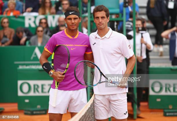 Rafael Nadal of Spain and Albert RamosVinolas of Spain pose for a photograph at the net before the final on day eight of the Monte Carlo Rolex...