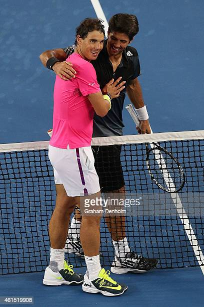 Rafael Nadal of Spain and Fernando Verdasco of Spain embrace following their match during Rafa's Summer Set at Melbourne Park on January 14 2015 in...