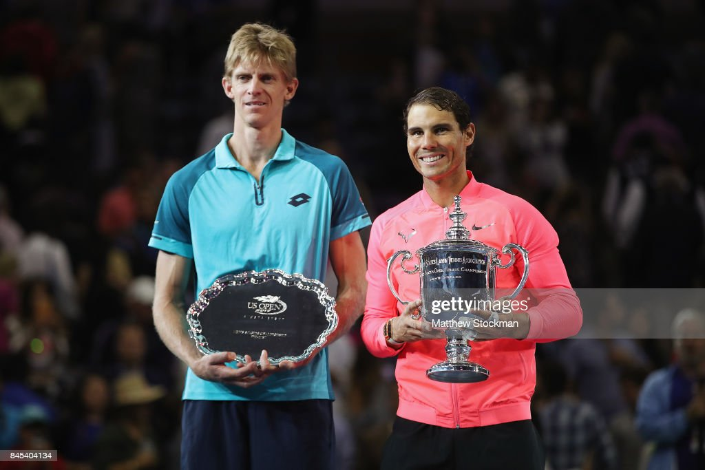 Rafael Nadal of Spain and Kevin Anderson of South Africa pose during the trophy ceremony after their Men's Singles Finals match on Day Fourteen of the 2017 US Open at the USTA Billie Jean King National Tennis Center on September 10, 2017 in the Flushing neighborhood of the Queens borough of New York City. Rafael Nadal defeated Kevin Anderson in the third set with a score of 6-3, 6-3, 6-4.