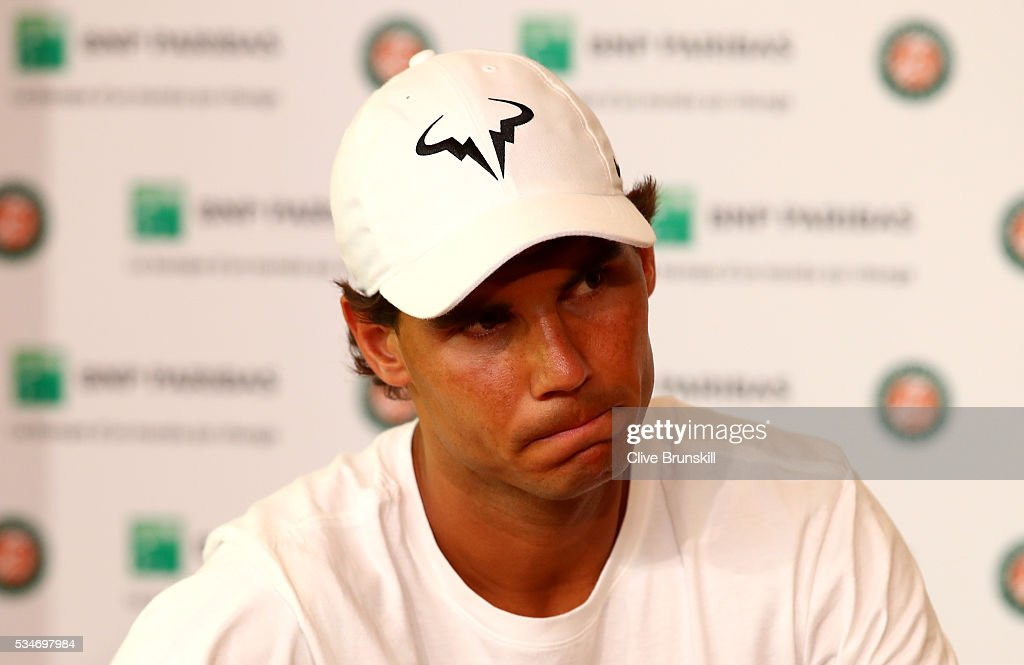 Rafael Nadal of Spain announces during a press conference that he is withdrawing from the tournament due to a wrist injury on day six of the 2016 French Open at Roland Garros on May 27, 2016 in Paris, France.