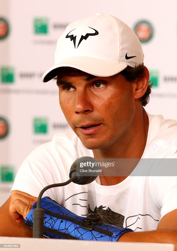 <a gi-track='captionPersonalityLinkClicked' href=/galleries/search?phrase=Rafael+Nadal&family=editorial&specificpeople=194996 ng-click='$event.stopPropagation()'>Rafael Nadal</a> of Spain announces during a press conference that he is withdrawing from the tournament due to a wrist injury on day six of the 2016 French Open at Roland Garros on May 27, 2016 in Paris, France.