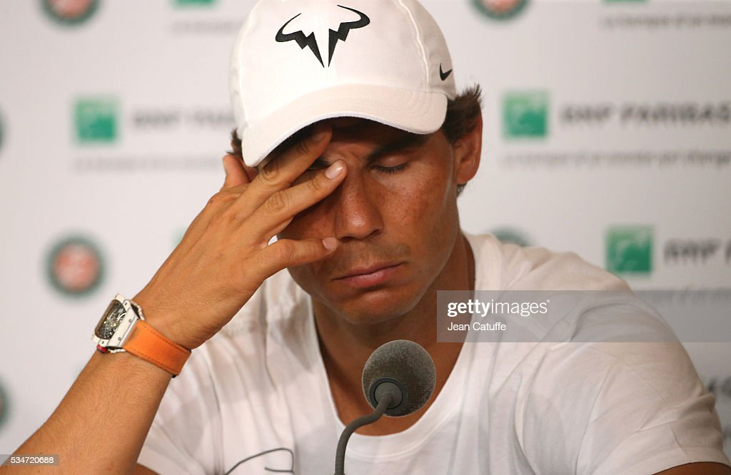 <a gi-track='captionPersonalityLinkClicked' href=/galleries/search?phrase=Rafael+Nadal&family=editorial&specificpeople=194996 ng-click='$event.stopPropagation()'>Rafael Nadal</a> of Spain announces his withdrawal from French Open due to an injury during a press conference on day 6 of the 2016 French Open held at Roland-Garros stadium on May 27, 2016 in Paris, France.