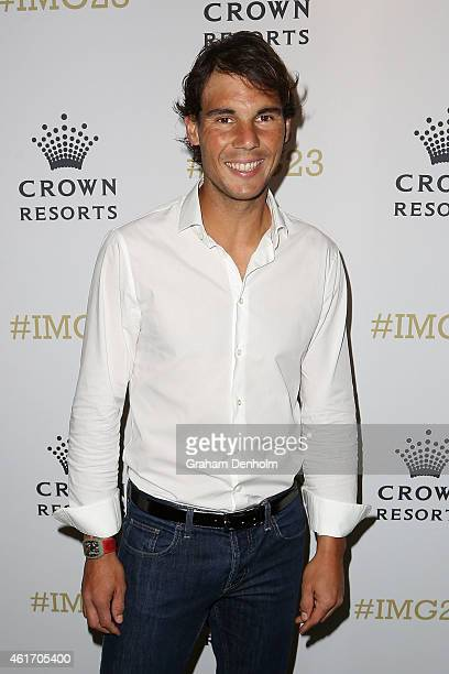 Rafael Nadal of Spain arrives for Crown's IMG@23 Tennis Players' Party at Crown Entertainment Complex on January 18 2015 in Melbourne Australia